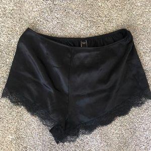 Black satin lace shorts